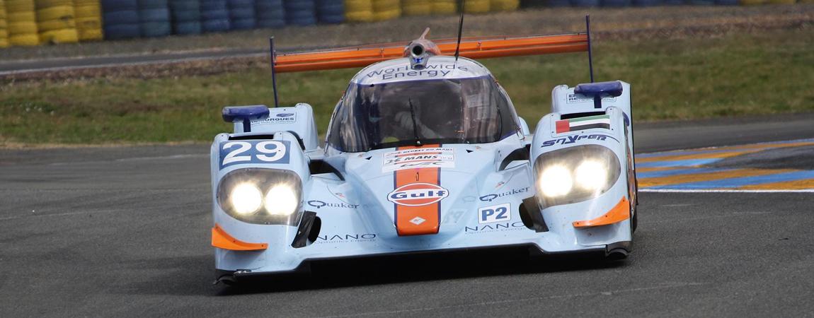Ein Le Mans Prototyp im Gulf Design