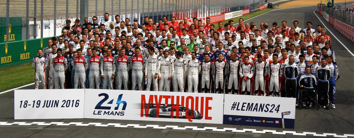 Das Gruppenfoto aller Fahrer aus Le Mans 2016