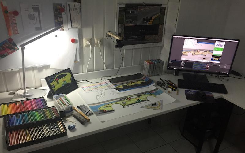 Der Arbeitsplatz von Stefan Waldher für die Le Mans Challenge