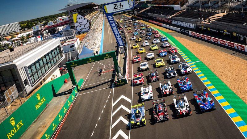 Das 62-Fahrzeuge starke Starterfeld beim Testtag in Le Mans